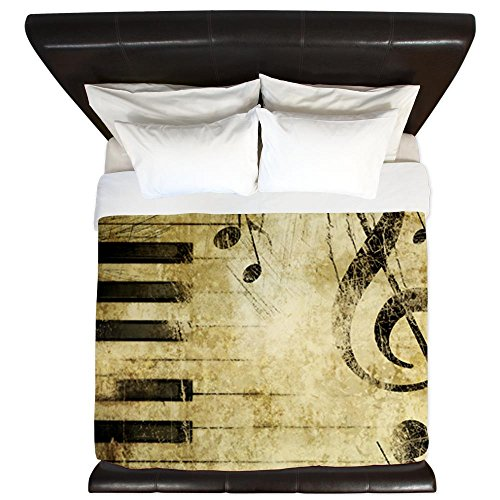 King Size Piano Keys Music Notes Design Duvet Cover