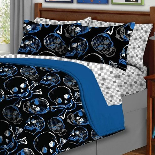 Skull Print Gothic Full Size Comforter Set