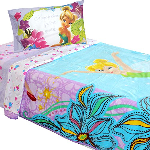 Turquoise Disney Fairies Butterfly Glow 4pc Blanket Sheet Set