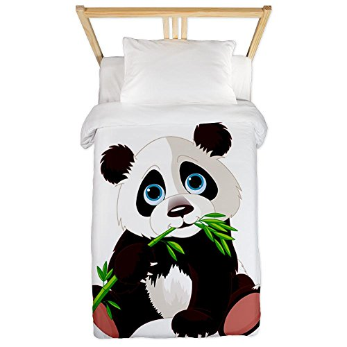 Cute Panda Bear Eating Bamboo Twin Duvet Cover