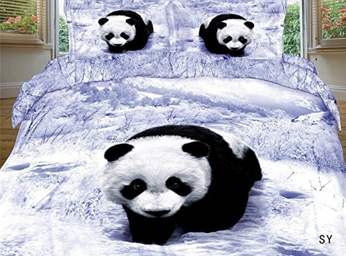 Black and White 3D Panda Pattern Bedding Set