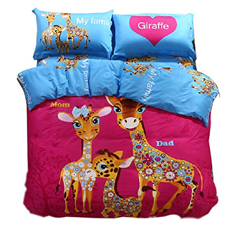 Adorable Cartoon Giraffe Family Bedding Set