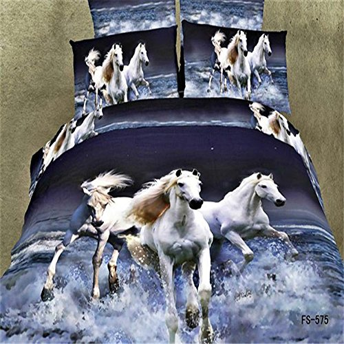 White Horses Print Bedding Set