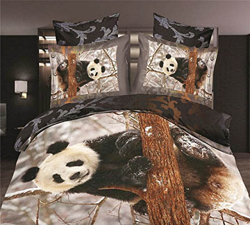 3D Panda Playing on Tree Bedding Set