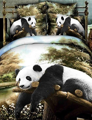 3D Oil Painting Full Size Panda Print Bedding Set