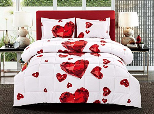 Red Diamond Hearts Comforter Set