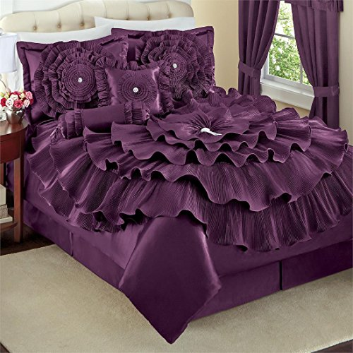 Dark Purple Ruffled FLORAL Comforter Set