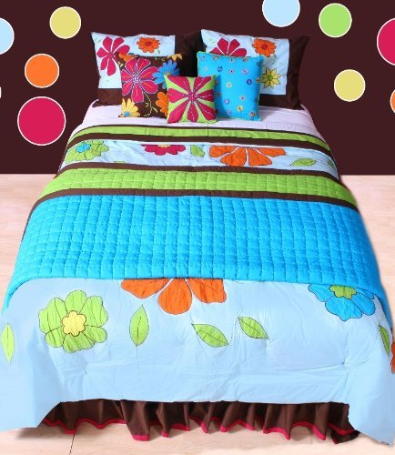 Cute Floral Turquoise Comforter