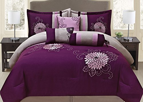 Beautiful 7-piece Purple Floral Comforter Set