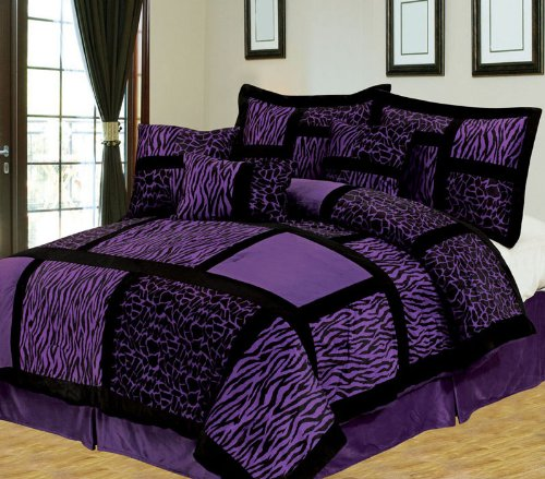 Animal Print Purple Comforter Set