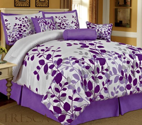 Cute Purple Leaves Bedding Comforter Set