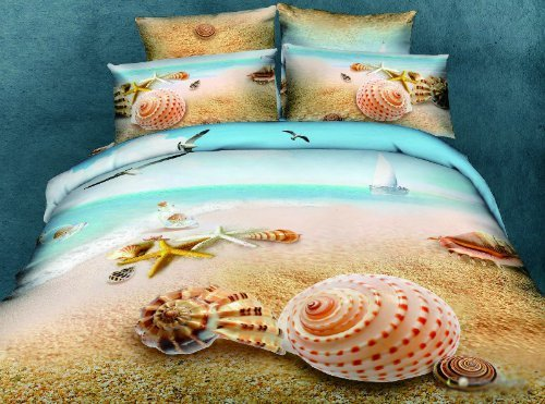 3d Beach Starfish Shell bedding