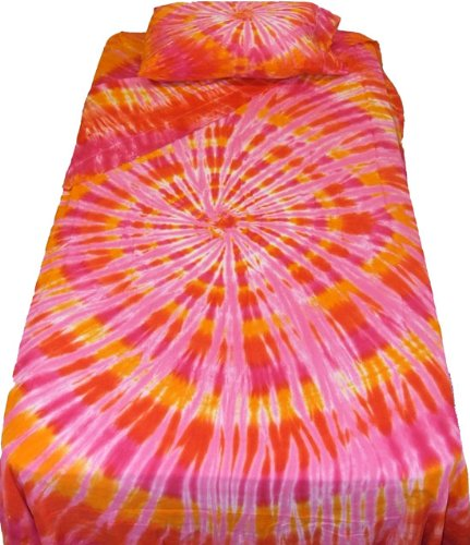 Orange and Pink Spiral Tie Dye Bedding