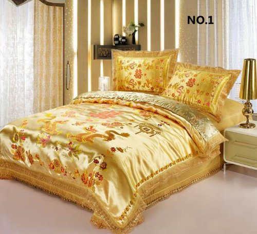 Yellow Gold Chinese Dragon Design Satin Bedding Set