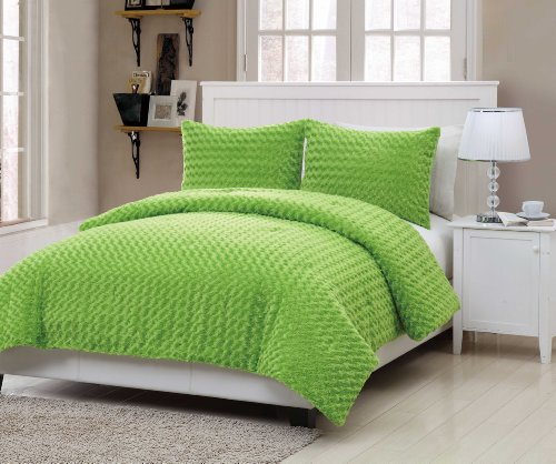 VCNY Fur 3-Piece Comforter Set, Full, Green