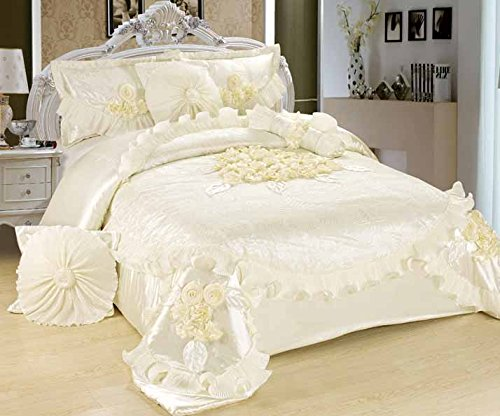 Floral White Sweet Victorian Satin Comforter Set