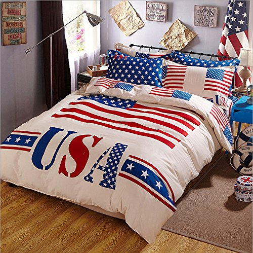 Unique Vintage American Flag Design Bedding Set