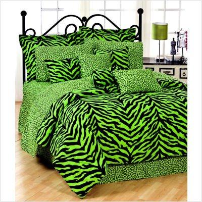 Lime Green Zebra Comforter