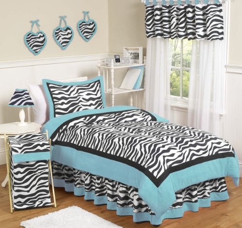 Turquoise Funky Zebra Bedding Set for Girls