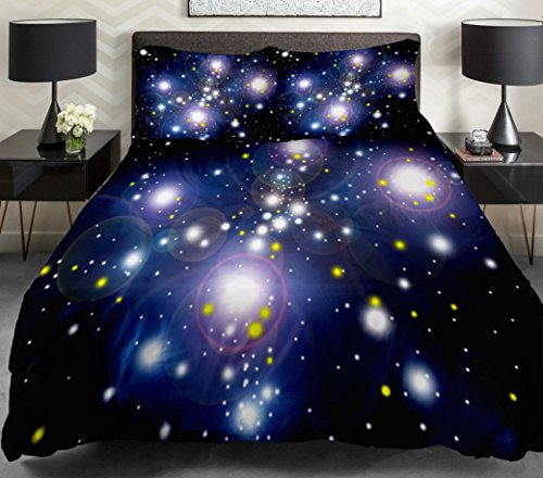 Bright Starry Night Outer Space Bedding Set