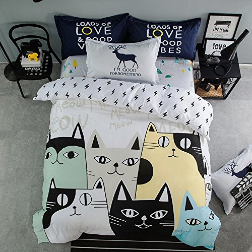 Cute Cartoon Cats Bedding Set for Teenage Girls