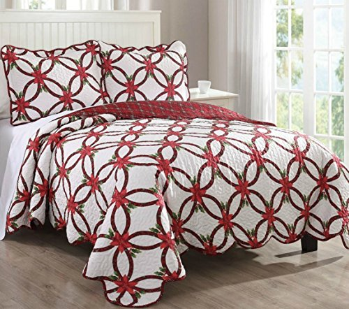 Gorgeous Christmas Poinsettia Bedspread Set