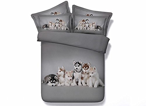 Husky Puppy Dogs Print Bedding Set