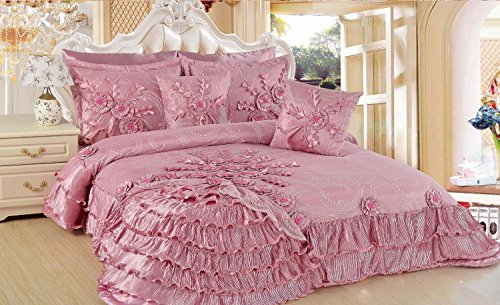 Rose Pink Ruffled Comforter Set