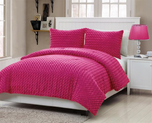 Rose Fur 3-Piece Comforter Set