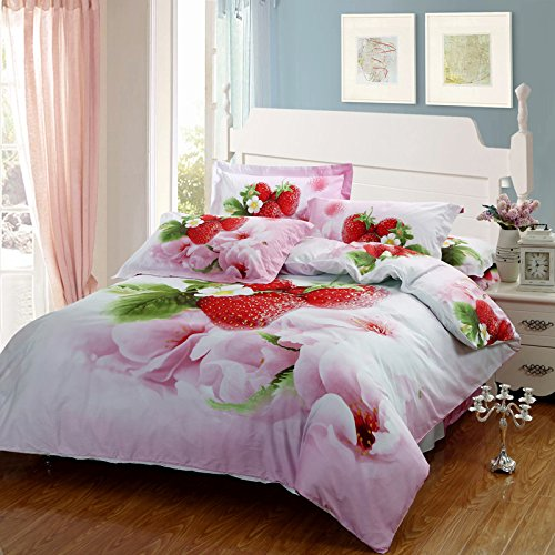 Strawberry Print Pink Bedding Set