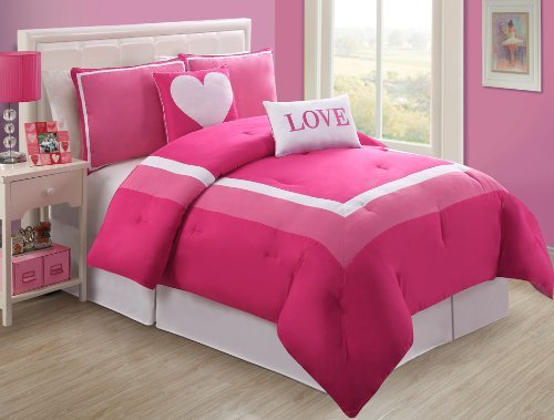 Pink and White Comforter Set for Teen Girls