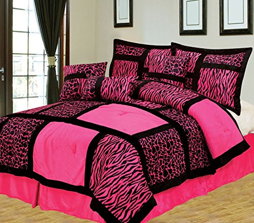 Pink and Black Animal Print Comforter Set