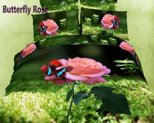 Beautiful Pink Rose and Butterfly Duvet Cover