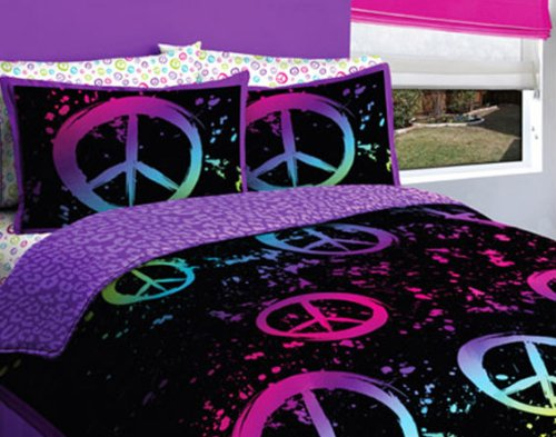 Black Purple Pink Green Peace Sign Full Comforter Set