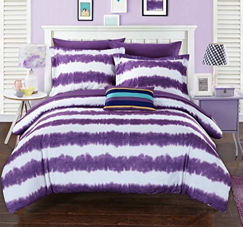 Purple Tie Dye Comforter and Sham Set