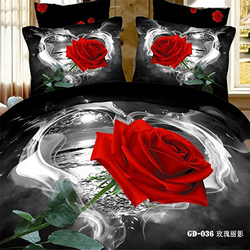 Red Rose Bedding Set