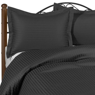 100% Egyptian Cotton Stripe Damask Black Bedding Set