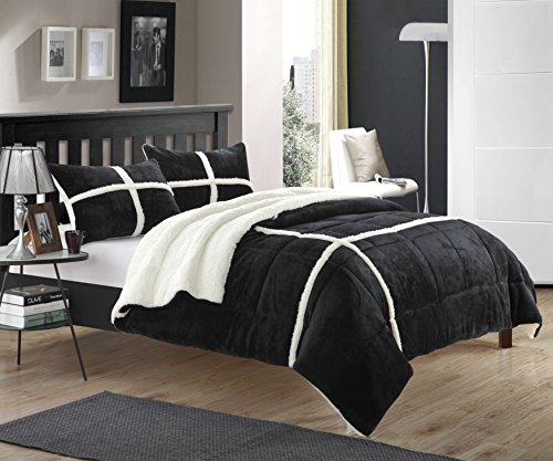 Black and White Sherpa Lined Plush Microsuede Comforter Set