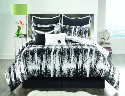 Unique Sunset and Vine Woodland Black and White 8-Piece Comforter Set