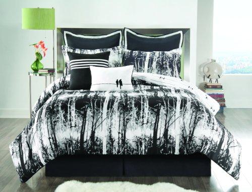 Unique Sunset and Vine Woodland Black and White 8-Piece Comforter Set