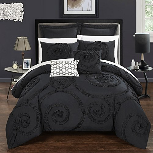 Black and White Floral Ruffled Embroidery Comforter Set