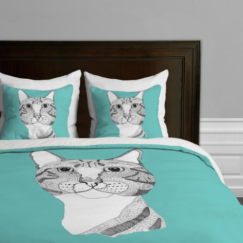 Cute Tabby Cat Design Blue Duvet Cover