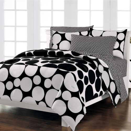 Dot Pattern Mini Bed in a Bag Set Black and White
