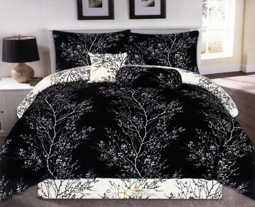 Black and White Comforter Set in Tree Branch Design