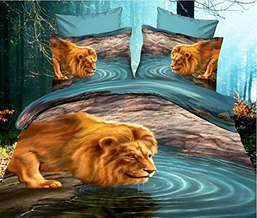 Lion Drinking Water Duvet Cover Set