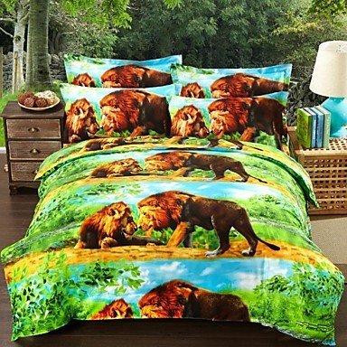 Lion Friends 3D Print 4-Piece Bedding