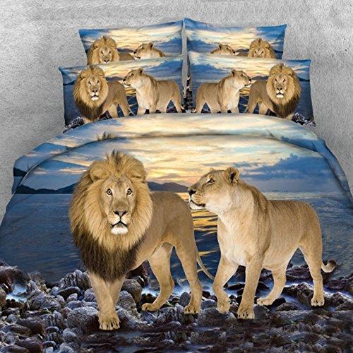 Lion Couple Print 5-Piece Bedding Set