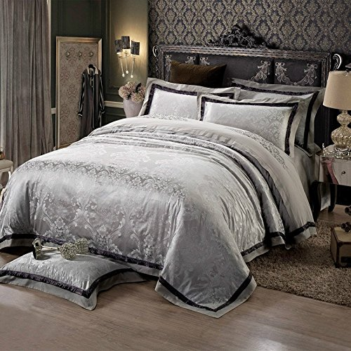 silver floral bedding set