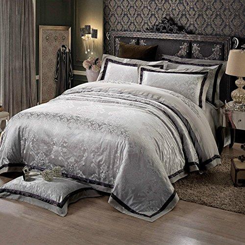 silver floral bedding set