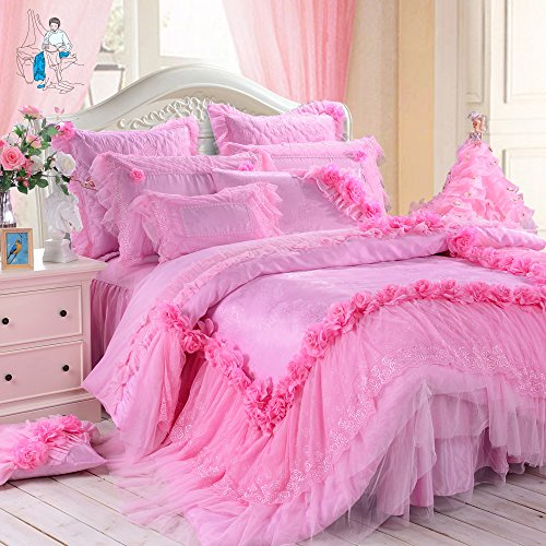 Pink Lace Ruffle Wedding Bedding Set